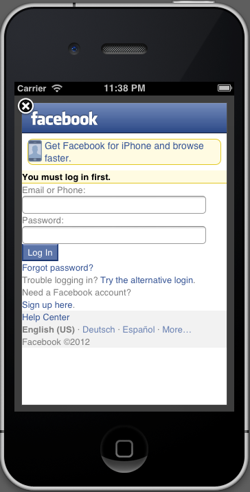 The FBConnect login dialog